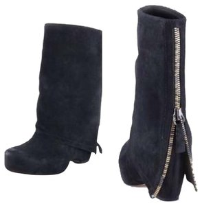 Vera Wang Zipper Suede Wedge Rare Discontinued Black Boots