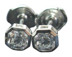 Tiffany & Co. Tiffany & Co Platinum Lucida Diamond Bezel Set Stud Earrings 1.02Ct F-