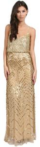 Adrianna Papell Sequin Chevron Beaded Gown Dress