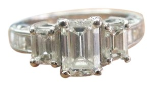 Other Fine 18KT Emerald Cut 3-Stone Diamond Engagement White Gold Ring
