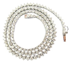 Other 18K 3-Prong Round Cut Diamond Graduated Riviera Necklace Solid White G