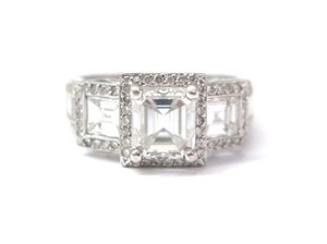Other Fine 18KT Emerald Cut 3-Stone Engagement Diamond Ring