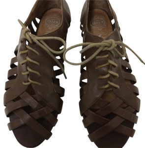 Jeffrey Campbell Hoyt Oxford Lace Up Leather Brown Sandals