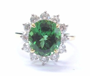 Tiffany & Co. Tiffany & Co 18Kt & Plat Green Tourmaline Diamond Solitaire W Accent R