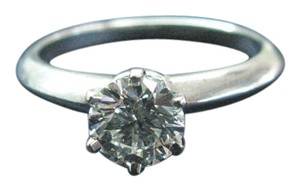Tiffany & Co. Tiffany & Co PLAT Round Diamond Solitaire Ring G-VS1 .90CT