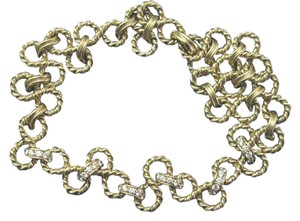 Tiffany & Co. Tiffany & Co 18Kt Diamond Yellow Gold Twist Necklace Nautique Collecti