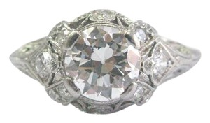 Other Platinum Vintage Old European Diamond Engagement Milgrain Ring 1.33CT