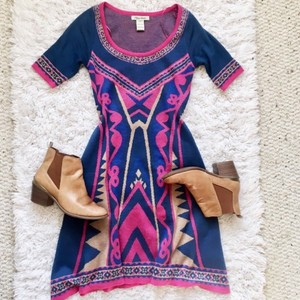 Blue Pink Maxi Dress by Flying Tomato Aztec Sweater