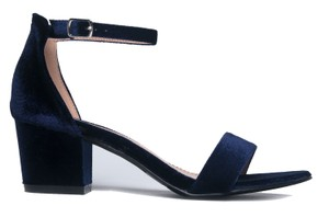 J. Adams Ankle Strap Heel Open Toe Suede Blue Velvet Sandals