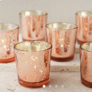 (56) Rose Gold Mercury Blush Votives