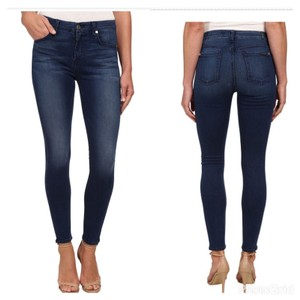 7 For All Mankind Ankle Mid-rise Denim Skinny Jeans-Dark Rinse