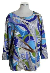 Chico's 3/4 Sleeve Knit Stretchy Print Top Blue
