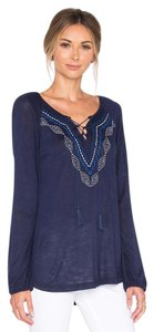 Sanctuary Clothing Long Sleeve Tassel Knit Embroidered Top Blue