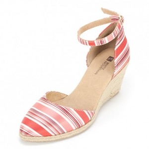 White Mountain Espadrille Multi Ankle Strap Coral Wedges
