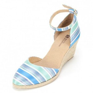 White Mountain Espadrille Multi Ankle Strap Blue Wedges
