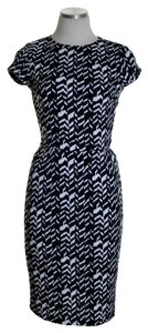 Bar III short dress Black/White Short Sleeve Print Stretchy Knit Sheath on Tradesy