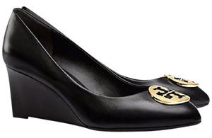 Tory Burch Reva Wedge Logo Work Black Gold Pumps