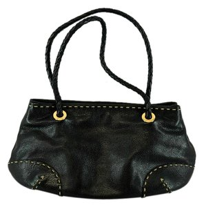Desmo Braided Leather Topstitching Shoulder Bag