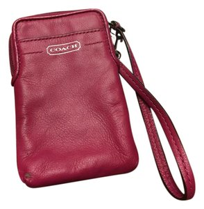 Coach Pink Card Case Wristlet in Hot Pink