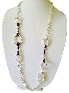 Robert Lee Morris Soho Silver-Tone Oval Link Leather Long Necklace
