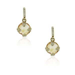 Judith Ripka Judith Ripka 18k Yellow Gold Citrine Diamond Earrings