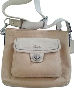 Coach Silver Hardware Adjustable Strap Leather Front Pocket Cross Body Bag
