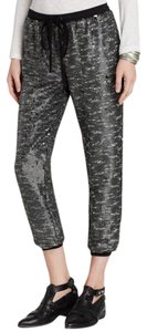Free People Sequined Boho Capris Metallic Grey Silver