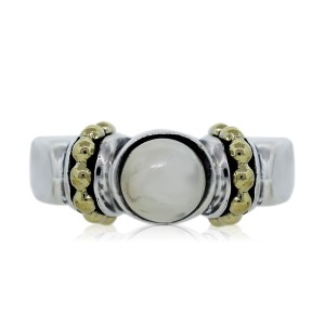 Lagos Lagos Caviar Sterling Silver and 18k Yellow Gold Pearl Ring