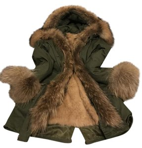 3QR Parka Fur Rabbit Khaki Fur Coat