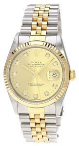 Rolex 18k Yellow Gold Stainless Steel Datejust Custom Diamond Men's Watch.