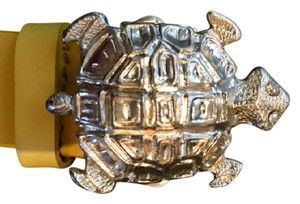 Another Line, Inc. Yellow Leather Belt w Turtle Buckle - Silver Tone