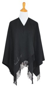 Burberry Fringe Shawl Wrap Cashmere Cape