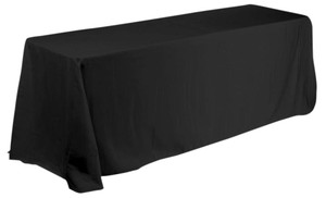 "Black Poly Tablecloth 90x132"" (set Of 4)"