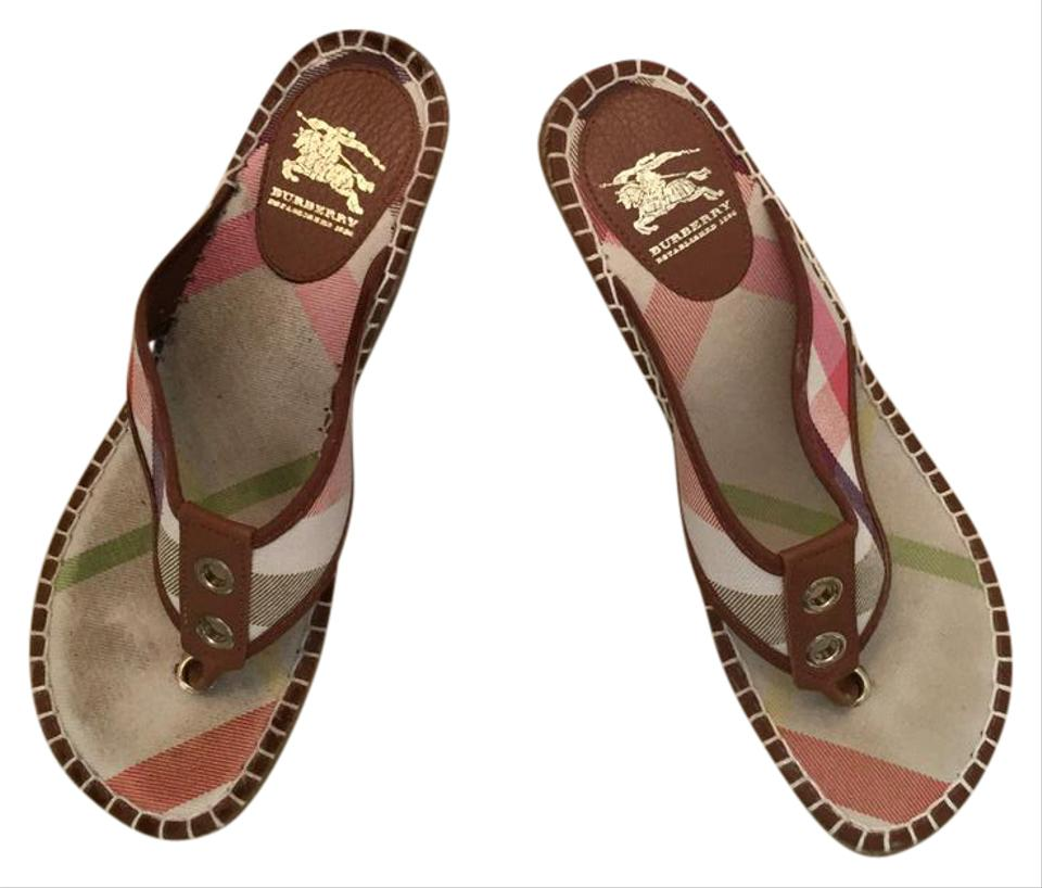Brown Wedges Nova Beige Leather with Burberry Trim Check aP6tBq8txw