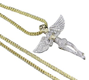 Other Men's 10K Yellow Gold Genuine Diamond Iced Angel Pendant Chain Set 1Ct