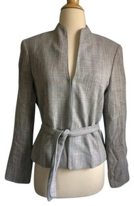 Lafayette 148 New York Periwinkle Suit Belted Gray Jacket