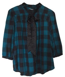 Quiksilver Button Down Shirt Teal and Black
