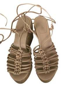 Chlo Chloe Sandals Laceup Leather Nude/Beige Wedges