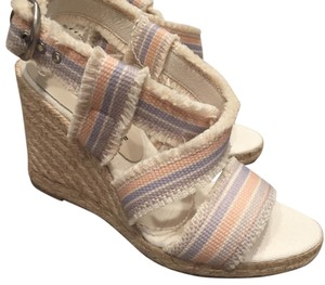 Bettye Muller Natural with light purple, and orange striping Wedges