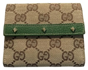 Gucci Gucci Monogram Jacquard with Studded Green Leather Trim Wallet EUC