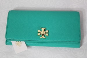 Tory Burch NEW!!! Tags Turquoise Leather Continental Turnlock Envelope Wallet