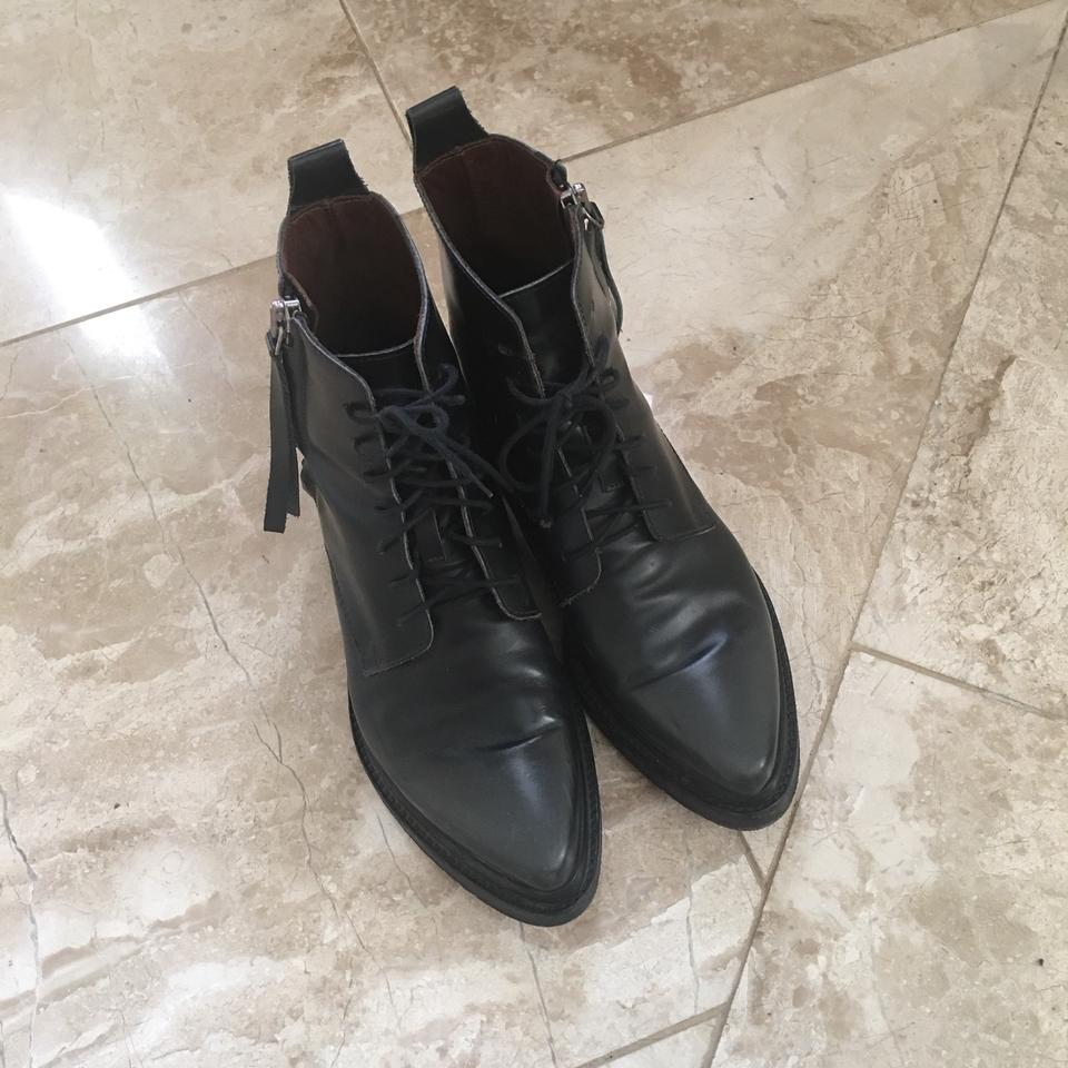 Acne Dark Black Leather Gray Booties Studios Linden Ankle Boots r1agwr