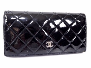 Chanel CHANEL Patent Leather Bifold Long Wallet Black SHW Coco