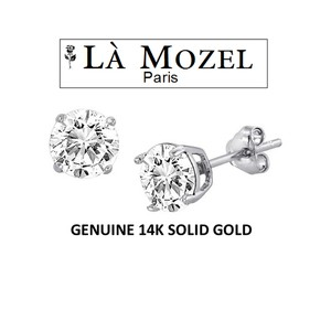 Other Solid 14K White Gold Stud Earrings Featuring Swarovski Elements
