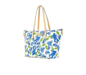 Dooney & Bourke Zip Top & Leather Tote in WHITE/BLUE