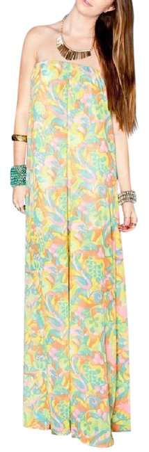 Item - Yellow Printed Open Back Draped Gown New Long Casual Maxi Dress Size 4 (S)