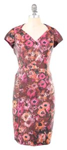 Theia Floral Short Sleeve Slimming Open-back Sheath Dress