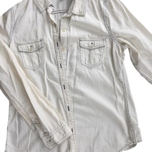 Old Navy Button Down Shirt white & blue