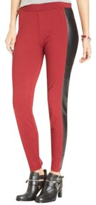 Tinseltown Faux Leather Ponte Red Black Leggings