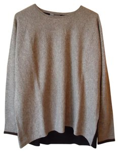 Vince Gray Black Color-blocking Cashmere Sweater